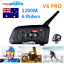 1200m-6-Riders-Motorcycle-Intercom-Bluetooth-Helmet-Headset-V6-BT-Communication thumbnail 1