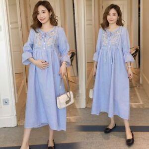 Loose Maternity Dress Ladies Casual Pregnancy Clothing Striped Long Fashion Wear Ebay