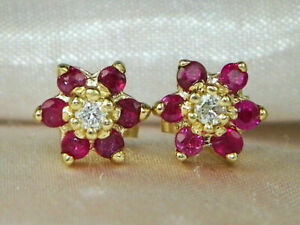 2-00Ct-Round-Cut-Pink-Sapphire-Halo-Stud-wedding-Earrings-14k-Yellow-Gold-Over