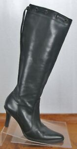 654fc268a22 Coach Bella Knee Boots Black Leather Side Zipper 3 3 4 Inch Heel ...