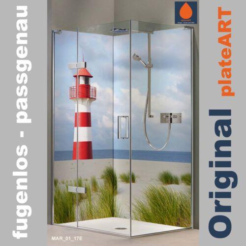 Fliesenersatz Leuchtturm Nordsee Maritim Eck Duschrückwand Rückwand Dusche Alu