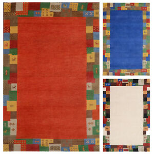 Morgenland-Tapis-Gabbeh-Elite-Noue-a-la-Main-Loribaft-Laine-Rouge-Bleu-Blanc