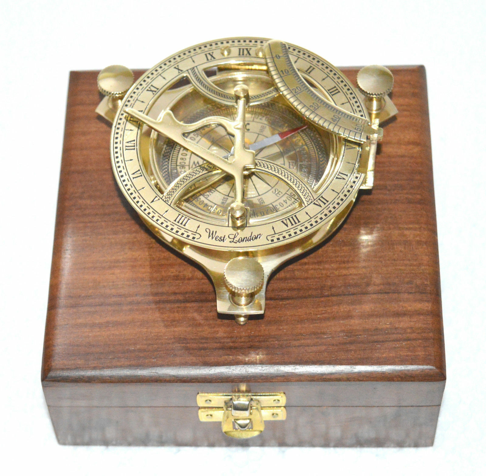 BRASS SUNDIALCOMPASS MARITIME WEST LONDON NAVIGATION NAUTICAL GIFT COMPASS