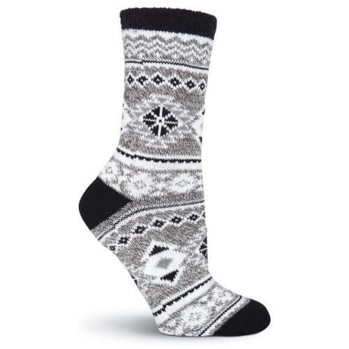 K.Bell Double Layer Cozy Warm Nordic Print Socks Ladies Crew Black Gray New