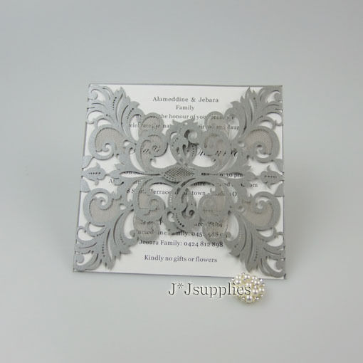 Elegant Floral Cut 7Couleurs Wedding Invitation Cards Free Envelopes, inner sheet