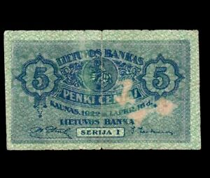 Lithuania 5 Centai 1922  P-9