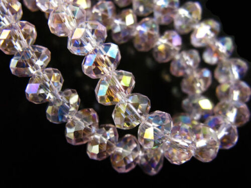 50Pcs 8x6mm Faceted Glass Crystal Loose Spacer Beads Rondelle Findings