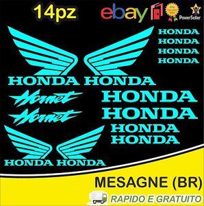 Kit-14pz-adesivi-replica-Honda-Hornet-moto-casco-colore-Celeste