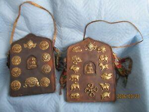 2 Antike Große Altare Buddha - Buddistischen Symbolen-glückssymbole Bronze Leder