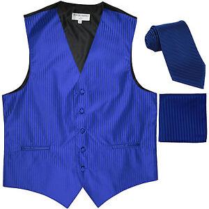 New Men's Formal Vest Tuxedo Waistcoat_necktie set striped wedding royal blue