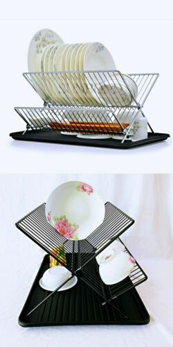 2Tier Folding Drying Dish Rack Drainer Tray Stand Kitchen Organiser Black Silver