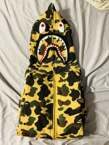 REPLICA Bape Yellow Camo Shark Full-Zip Hoodie MED