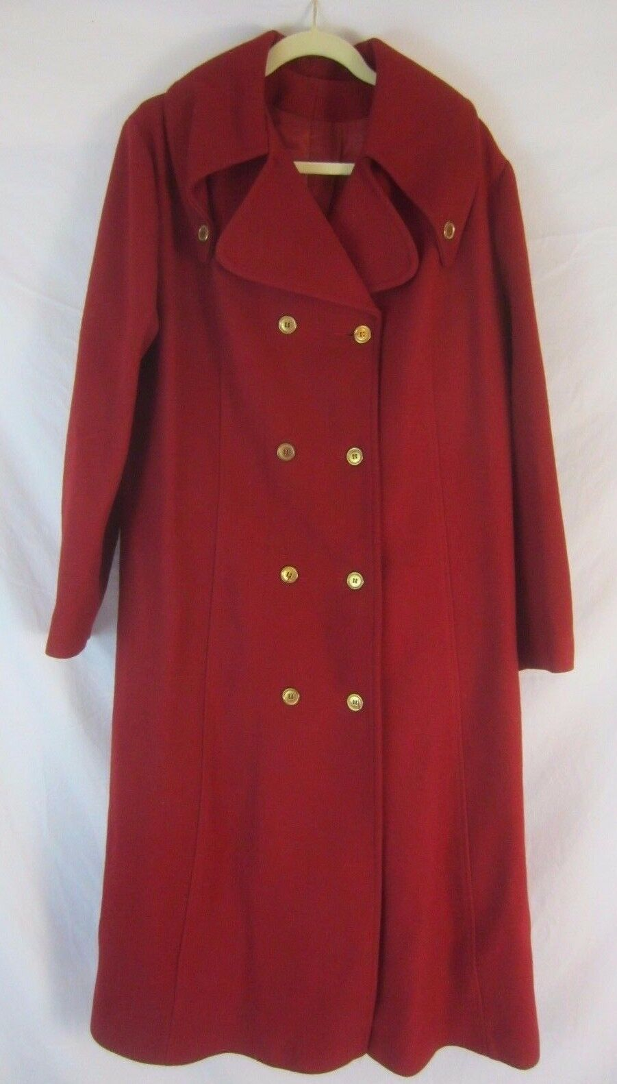 Red Lined Wool Heavy Winter Coat - Women's M L - Made in USA Union Made - F17