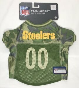 super popular 1bb63 7b87a Details about NEW NFL Team Jersey Pet Wear Pittsburgh Steelers Green Camo  Dog Jersey S M XL