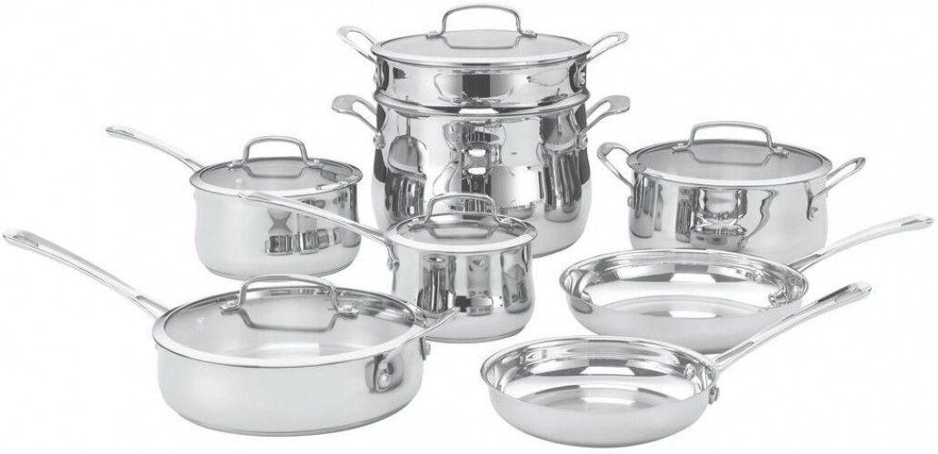 Cuisinart Contour Cookware Set 13 pièces en acier inoxydable avec couvercle Four au lave-vaisselle