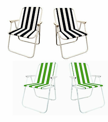 2 x GARDEN PATIO FOLDING STRIPED DECK PICNIC CAMPING BEACH BBQ PARTY CHAIR RELAX