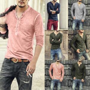 Da-Uomo-Casual-Manica-Lunga-Camicie-Scollo-a-V-Formale-Aderente-Maglia-T-Shirt