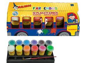 Malinos-FARBENBUS-Plakatfarben-12er-Set-inkl-Pinsel-und-Mischpalette-NEU