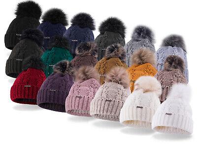 Mütze Wintermütze Damenmütze Fleecemütze mit Kunstfellbommel Glitzermuster