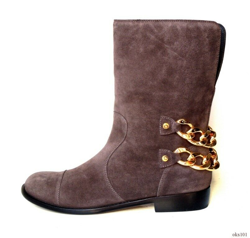 new $1395 Giuseppe ZANOTTI CHAIN taupe gray suede GOLD CHAIN ZANOTTI flat ankle boots 39.5 9.5 28377d