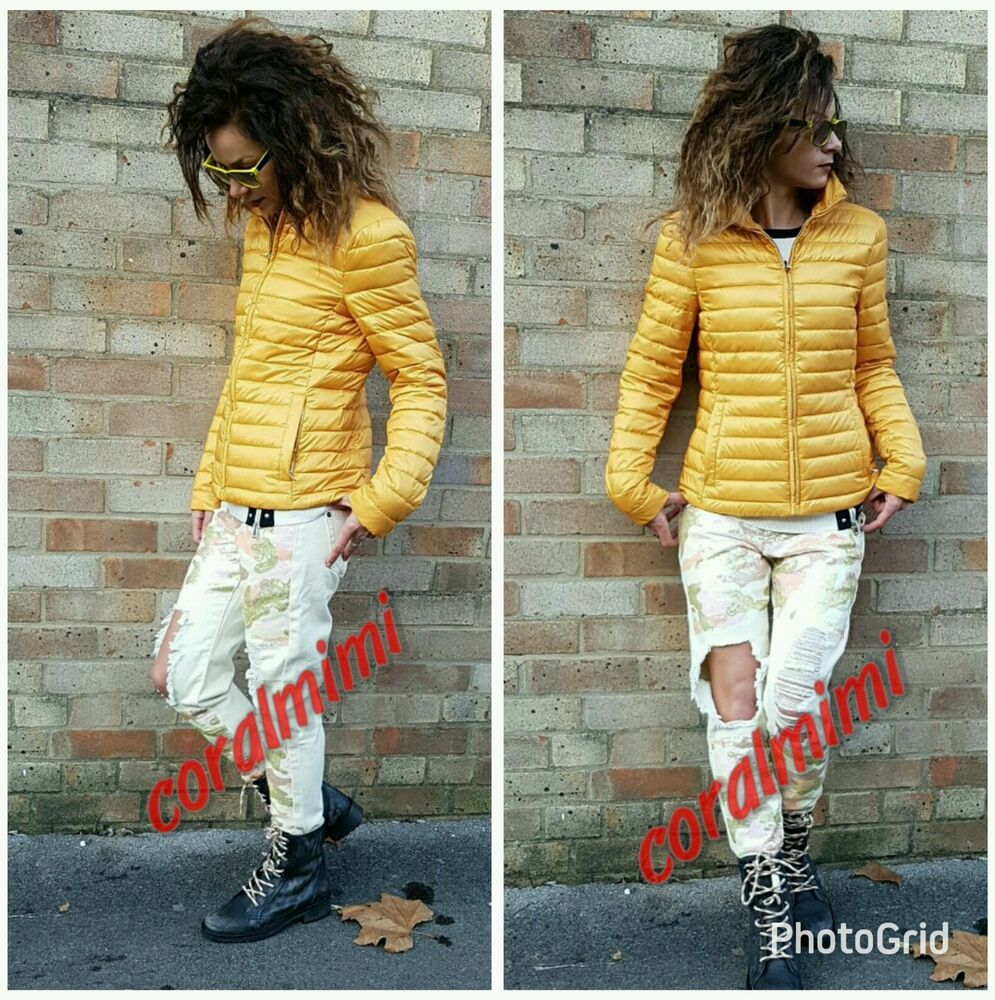 Zara Nouveau Jaune Moutarde Down Ultralight Doudoune Taille S