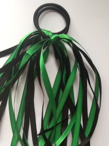 2x Halloween Costume Fancy Dress Streamer Hair Ribbons Bobble Band Witch Pirate