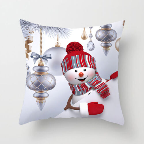 45cm x 45cm Christmas Sofa Pillow Case 3D Cute Snowman Cushion Cover Xmas Decor