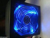 750w 750 Watt Blue Led Quiet Large Gaming Fan Sata Atx Power Supply Psu Pcie