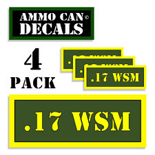 "17 WSM Ammo Can 4x WSM Label Ammunition Case 3""x1.15"" sticker decals 4 pack AG"