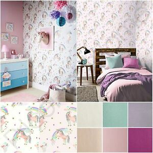 Details About Arthouse Rainbow Unicorn White Pink Glitterati Glitter Wallpaper Kids Girls