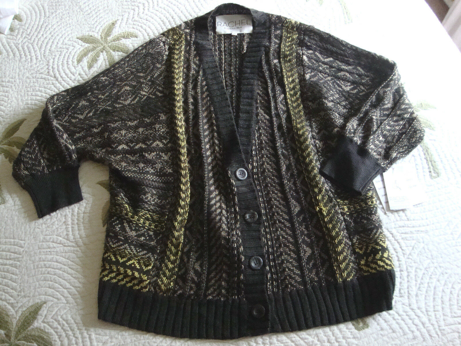 New Womens Rachel Roy Magic Carpet Knit Mushroom Button Down Sweater Size Small