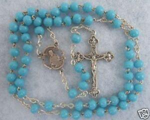 VINTAGE-Catholic-Light-BLUE-5mm-Glass-ROSARY-Nice-Crucifix-amp-center-medal