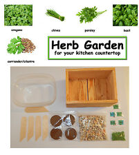 Herb Kitchen Garden Kit  - everything needed for indoor growing - Wooden Planter