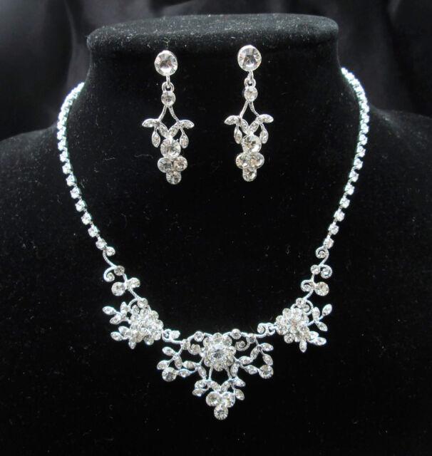 UK- Womens White Crystal Bridal Wedding Prom Jewellery Necklace Set PR0248