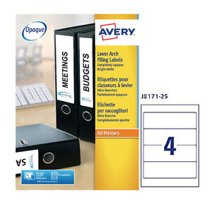avery lever arch filing labels 4 per sheet 25 sheets per pack