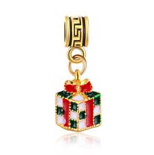18K gilded Christmas gift box LAMPWORK fit European Charm Bracelet pendant #F320