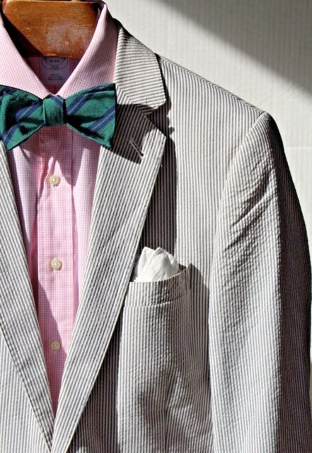 J. Crew 40L Gentleman's Blue Striped 'Ludlow' Seersucker Cotton Blazer - $298.00