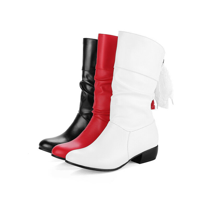 Black White Red Faux Leather Lace Mid-Calf Boots Lady's Low Heel Plus Size shoes