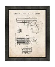 Gaston Glock 17 Gun Patent Print Old Look in a Beveled Black Wood Frame