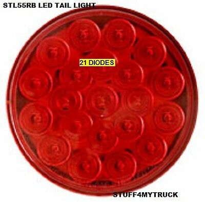 2 RED ROUND - 4 INCH - 21 LED STOP TAIL TRUCK LIGHTS - GROMMETS & PLUGS INCLUDED
