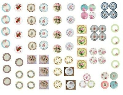 Dollhouse Miniature Shabby Chic Decals 1:12 Floral Roses Blues Purples Lavenders