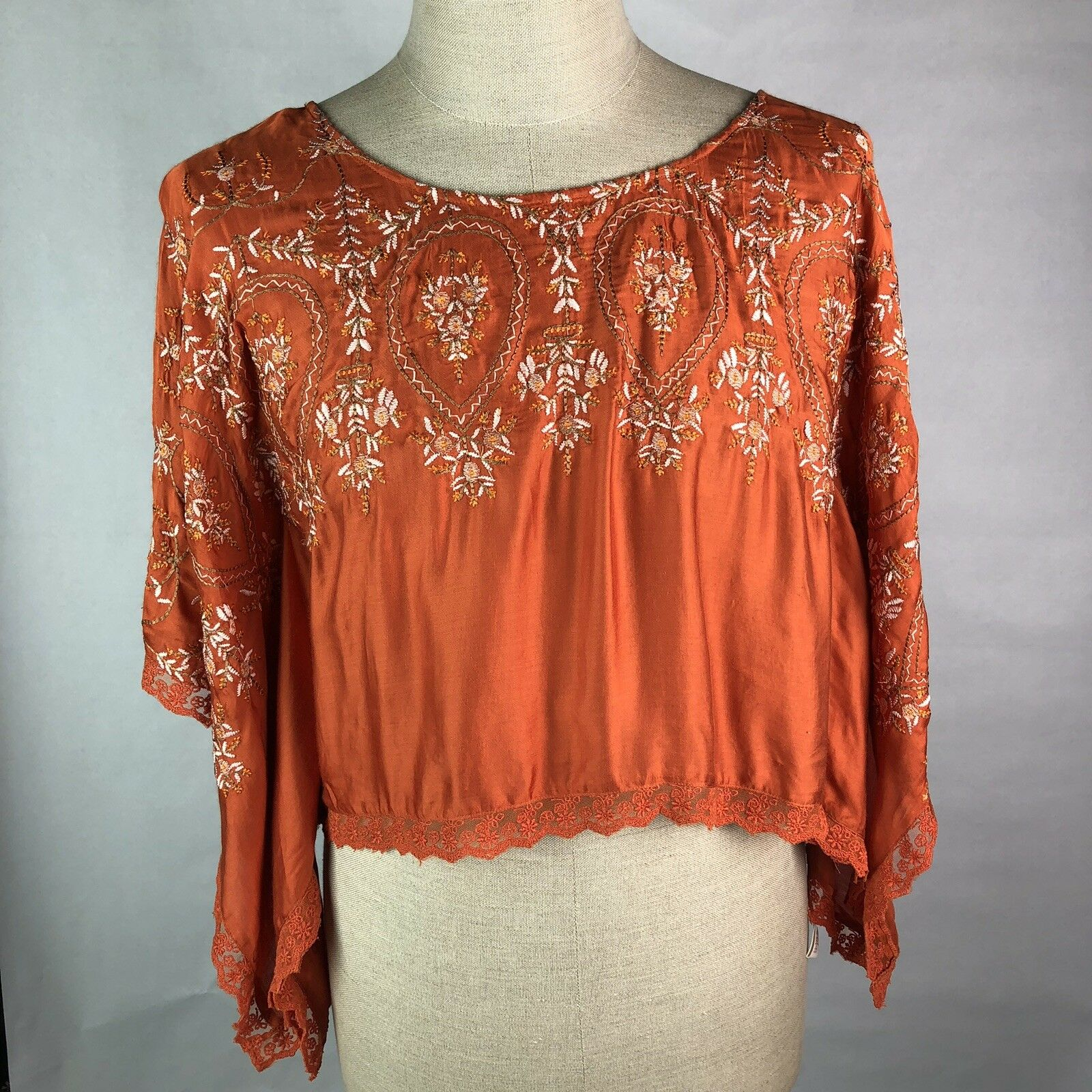 New Free People Boho Shirt S Tangerine Bat Wing Sleeve Emroidered F426T016 Cc