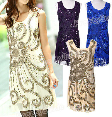 Art Deco Nude 1920s Style Glam Flapper Sequin Gatsby Charleston Dress
