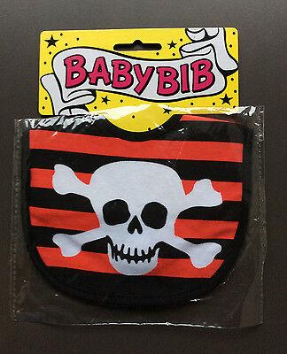 SIX BUNNIES BLACK WHITE SKULL CROSSBONES RIB CAGE GOTHIC PUNK BABIES BABY BIB