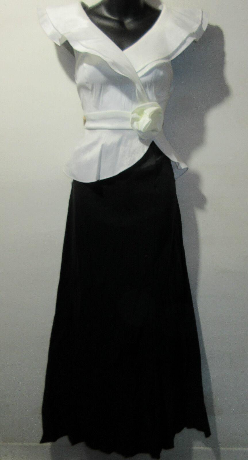 Maxi Dress M   L schwarz Weiß Gown Cascading Neckline Rosa on Waist Stretch NWT