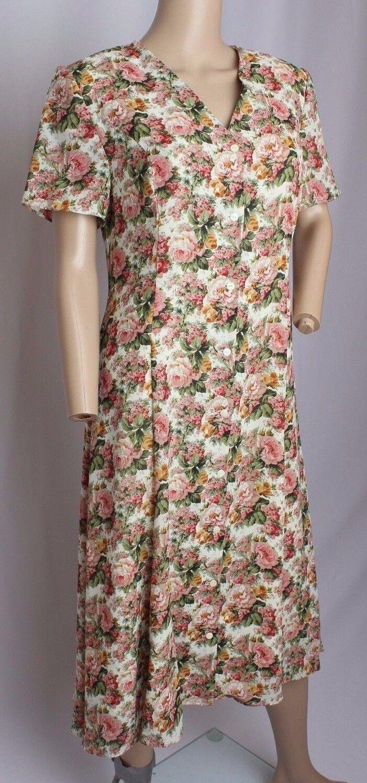 VTG 90's Cynthia Rowley Floral Pink pinks Print Gypsy Grunge Spring Dress 8