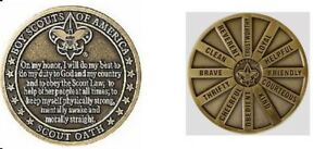 BOY-SCOUT-COLLECTORS-OATH-LAW-MOTTO-SLOGAN-DIECAST-OFFICIAL-CHALLENGE-COIN-HEAVY