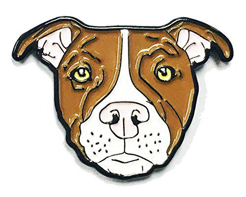 Brown White Pitbull American Bully Pit Bull Terrier Breed Dog Lover Enamel  Lapel