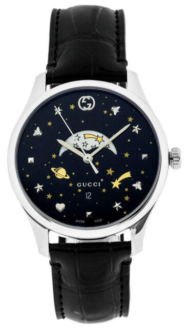 4337b7e3abd Gucci G-Timeless Slim Moonphase Black Dial 40MM Leather Men s Watch YA126327