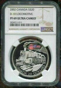 2002-CANADA-20-D-10-LOCOMOTIVE-NGC-PF69-UC-w-COA-SILVER-COIN
